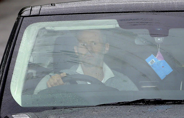 """Manchester United's Ryan Giggs arrives at the clubs' Training Complex, Carrington, Manchester, England Tuesday April 22, 2014. Manchester United says manager David Moyes has left the Premier League club after less than a year in charge, amid heavy speculation he was about to be fired. United released a brief statement in its website Tuesday, saying the club """"would like to place on record its thanks for the hard work, honesty and integrity he brought to the role."""" Giggs has been tipped to takeover on an interim basis. (AP Photo/PA, Dave Thompson)"""