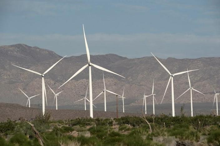 FILE PHOTO: Power-generating Siemens 2.37 megawatt (MW) wind turbines are seen at the Ocotillo Wind Energy Facility as the spread of the coronavirus disease (COVID-19) continues in this aerial photo taken over Ocotillo, California