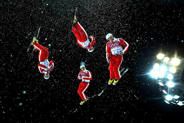 SOCHI, RUSSIA - FEBRUARY 17: (EDITORS NOTE: Multiple exposures were combined in camera to produce this image.) Renato Ulrich of Switzerland practices ahead of the Freestyle Skiing Men's Aerials Finals on day ten of the 2014 Winter Olympics at Rosa Khutor Extreme Park on February 17, 2014 in Sochi, Russia. (Photo by Cameron Spencer/Getty Images)