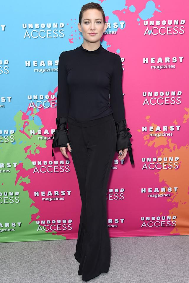 <p><strong>17 October </strong>Kate Hudson attended a Hearst Magazines event wearing a floor-length black dress.</p>