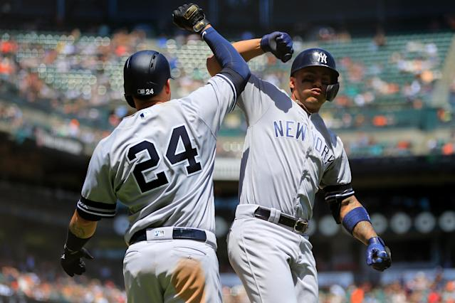 Gary Sanchez, left, and Gleyber Torres, right, lead the Yankees in home runs. (Photo by Daniel Shirey/Getty Images)
