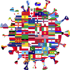 Illustration in the shape of a coronavirus made up of overlapping international flags.