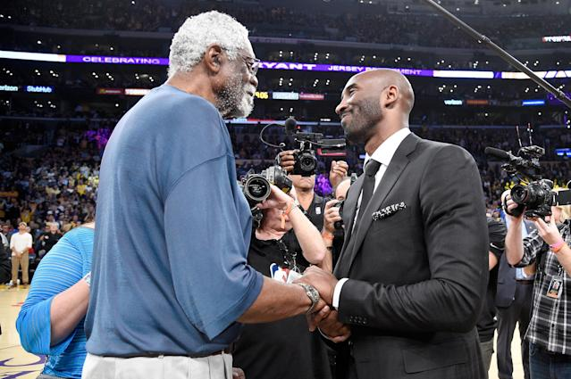 Bill Russell honored Kobe Bryant by wearing his jersey to the Celtics-Lakers game. (Kevork Djansezian/Getty Images)