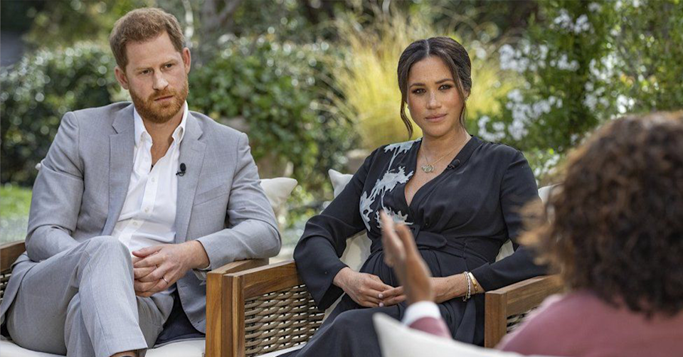 Prince Harry and Meghan Markle with Oprah.