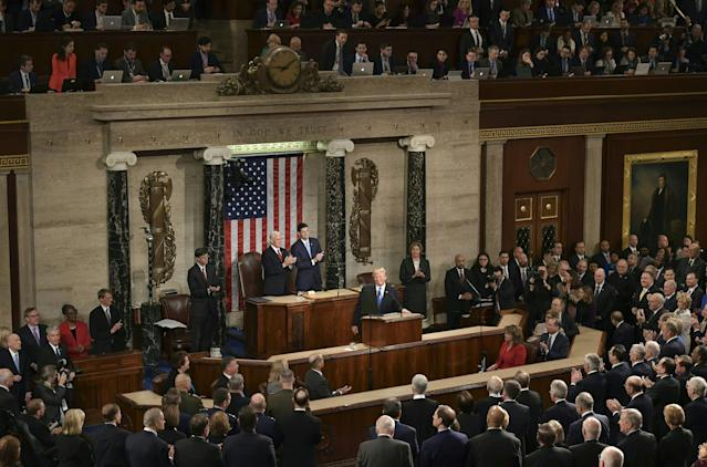<p>Trump takes the podium at his State of the Union address at the U.S. Capitol in Washington, D.C., on Jan. 30. (Photo: Mandel Ngan/AFP/Getty Images) </p>