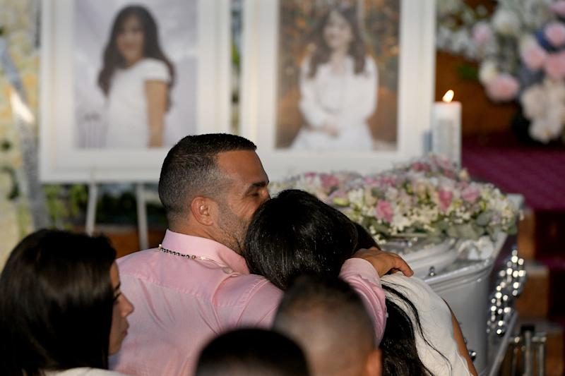 Danny Abdallah and Leila Geagea are seen during the funeral for their children. Source: AAP