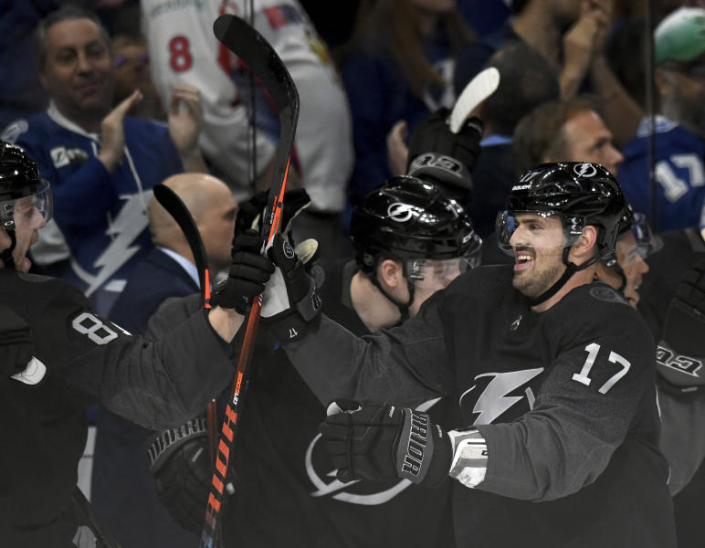 Tampa Bay Lightning left wing Alex Killorn (17) celebrates his third goal of the night during the third period of an NHL hockey game against the Washington Capitals Saturday, March 16, 2019, in Tampa, Fla. (AP Photo/Jason Behnken)