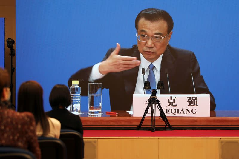 Chinese Premier Li Keqiang during a news conference following the closing session of NPC in Beijing