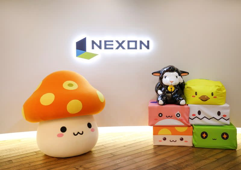 The logo of Nexon is displayed at the company office in Tokyo