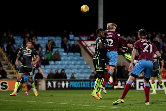 Soccer Football - League One - Scunthorpe United vs Bristol Rovers - Glanford Park, Scunthorpe, Britain - November 11, 2017 Scunthorpe United's Neal Bishop scores their first goal Action Images/John Clifton