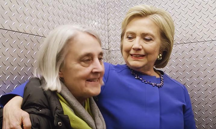 Betsy Ebeling (left) and Hillary Clinton