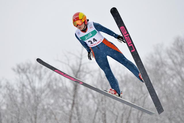 SAPPORO, JAPAN - JANUARY 12: Atsuko Tanaka of Canada competes in the normal hill individual 1st round during the FIS Women's Ski Jumping World Cup Sapporo at Miyanomori Ski Jump Stadium on January 12, 2014 in Sapporo, Japan. (Photo by Atsushi Tomura/Getty Images)