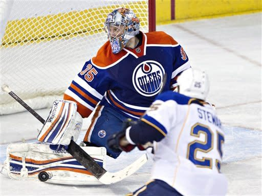 St. Louis Blues' Chris Stewart, 25, is stopped by Edmonton Oilers goalie Nikolai Khabibulin during second period NHL hockey action in Edmonton, Alberta, on Saturday March 23, 2013. (AP Photo/The Canadian Press, Jason Franson)