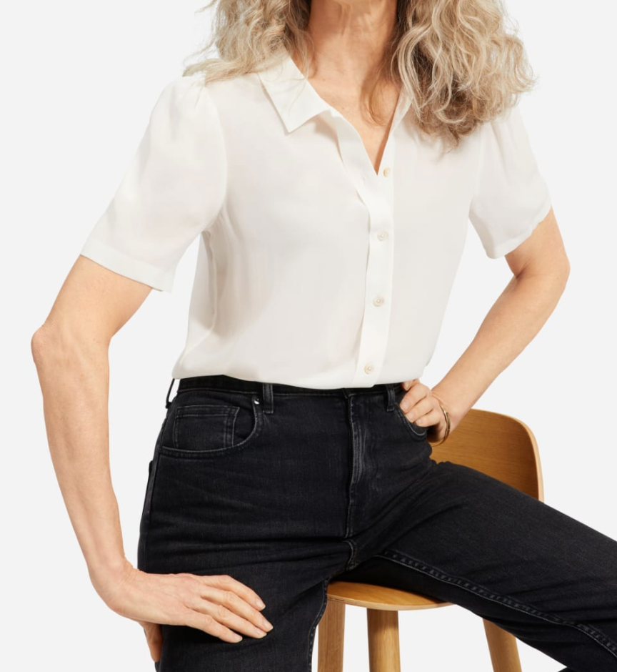 Everlane Clean Silk Puff-Sleeve Shirt