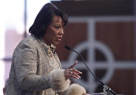 King, daughter of slain civil rights leader Martin Luther King, Jr., and CEO of the King Center speaks during the MLK, Jr. Annual Commemorative Service in Atlanta.