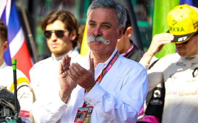 <span>F1's new CEO, Chase Carey, applauds what he sees</span> <span>Credit: EPA </span>