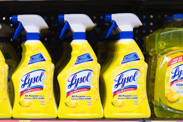 Lysol bottles on a store shelf, plastic spray bottles of all-purpose cleaner. The product is distributed by Reckitt Benckiser. (Roberto Machado Noa/LightRocket via Getty Images)