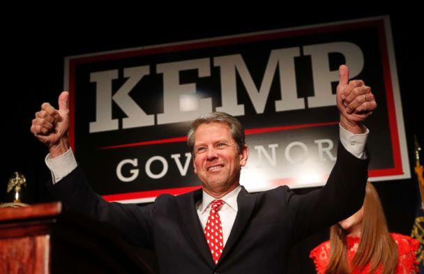 PHOTO: Georgia Republican gubernatorial candidate Brian Kemp gives a thumbs-up to supporters, in Athens, Ga., Nov. 7, 2018. (John Bazemore/AP, FILE)