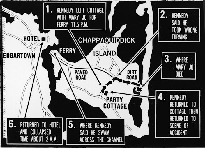 Map of Chappaquiddick Island, just off the island of Martha's Vineyard, that shows the locations of the major events of the evening of July 18, 1969, when a car driven by Sen. Edward Kennedy crashed off of a bridge resulting in the death of Mary Jo Kopechne, late 1969. (Photo: Express Newspapers/Getty Images)