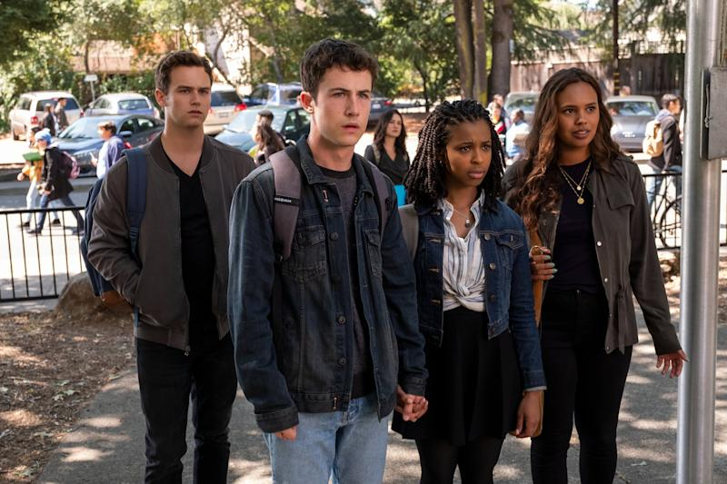13 REASONS WHY (L to R) BRANDON FLYNN as JUSTIN FOLEY, DYLAN MINNETTE as CLAY JENSEN, GRACE SAIF as ANI, and ALISHA BOE as JESSICA DAVIS in episode 401 of 13 REASONS WHY Cr. DAVID MOIR/NETFLIX 2020