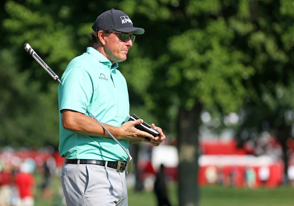 Phil Mickelson at the 2021 Rocket Mortgage Classic