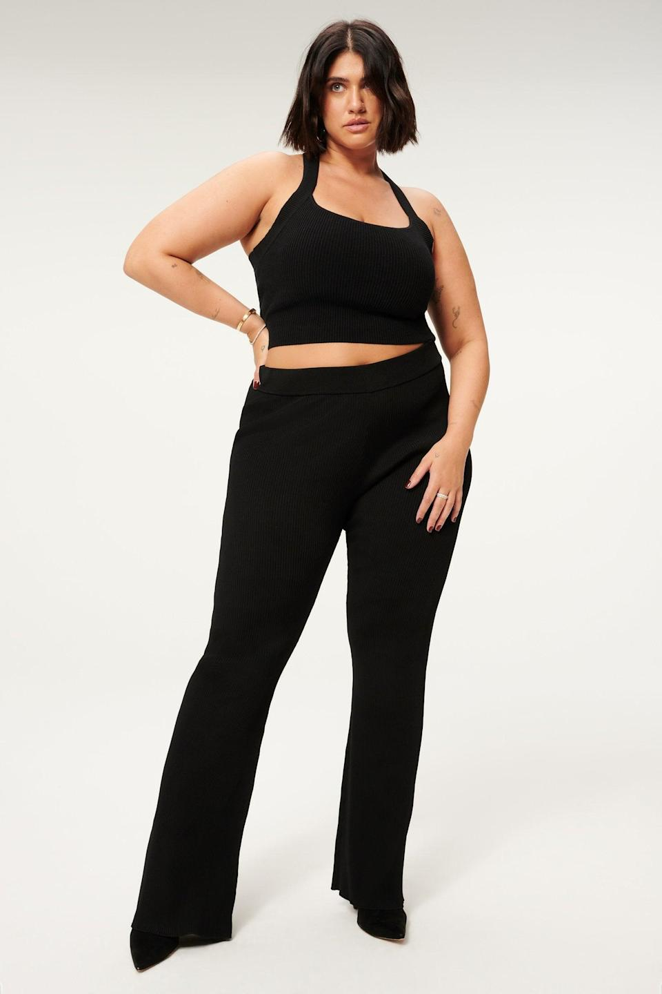 <p>These versatile <span>Good American Plated Rib Flare Pants</span> ($149) can be styled so many ways. Whether it's with sneakers or heels, you'll be comfy.</p>