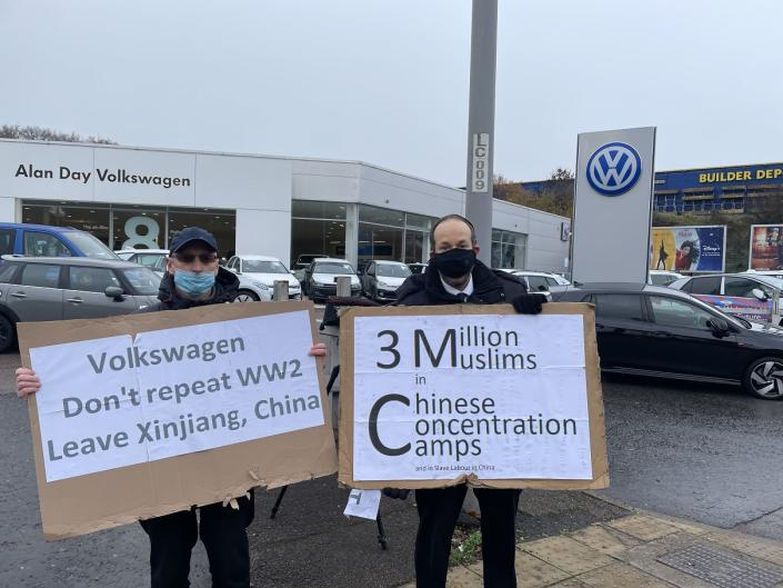 Andrew has been protesting outside a VW dealership.