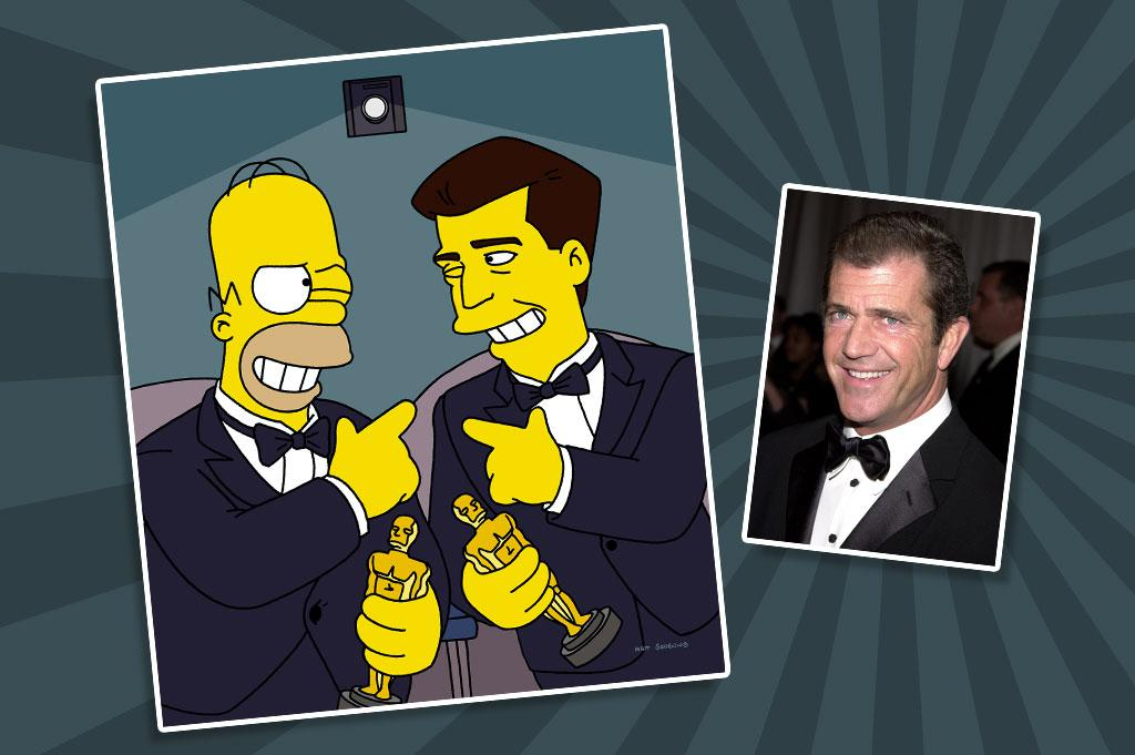 "Actor/filmmaker Mel Gibson stopped by ""The Simpsons"" in 1999 as himself in ""Beyond Blunderdome,"" poking fun at himself, several of his own movies, and Hollywood blockbuster action flicks in general. When Homer attends a test screening of Gibson's remake of ""Mr. Smith Goes to Washington,"" he hates it, so Gibson hires him to help fix the film. The result: a new ending in which Mr. Smith goes into a rage and takes out the president and every member of Congress."