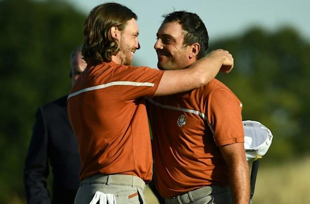 Tommy Fleetwood formed an unbeatable partnership with Francesco Molinari at the 2018 Ryder Cup (AFP Photo/FRANCK FIFE)
