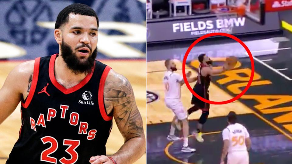 Pictured here, the basket that saw Toronto's Fred VanVleet set a new NBA scoring record.