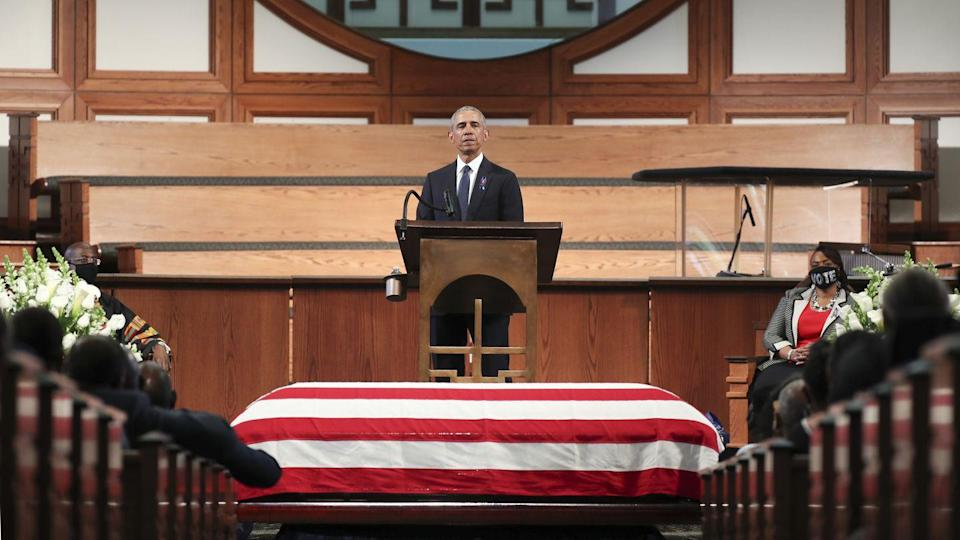 "<p>President Barack Obama gave a powerful eulogy for his longtime mentor and hero, John Lewis. ""That's what John Lewis teaches us—that's where real courage comes from—not from turning on each other but by turning towards one another. Not by sowing hatred,"" the former president stated. </p>"
