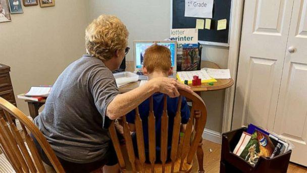 PHOTO: Oliver Levitan attends first grade remotely with the help of his grandmother. (Leslie Stallone-Levitan)