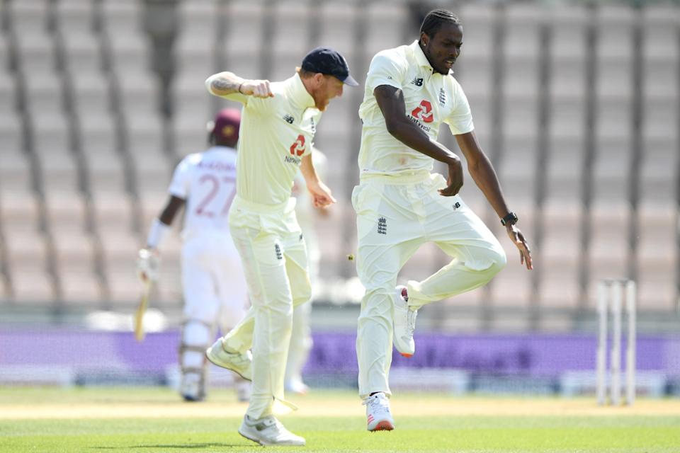 Ben Stokes and Jofra Archer celebrate a wicket (Getty Images for ECB)