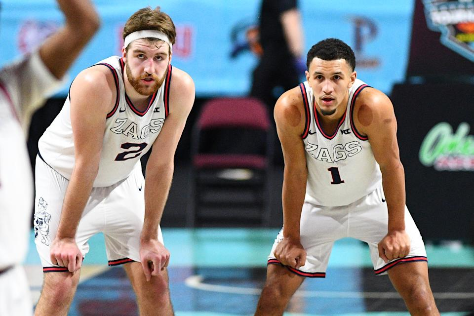 Gonzaga forward Drew Timme (2) and guard Jalen Suggs (1) lead the tournament favorites. (Photo by Brian Rothmuller/Icon Sportswire via Getty Images)