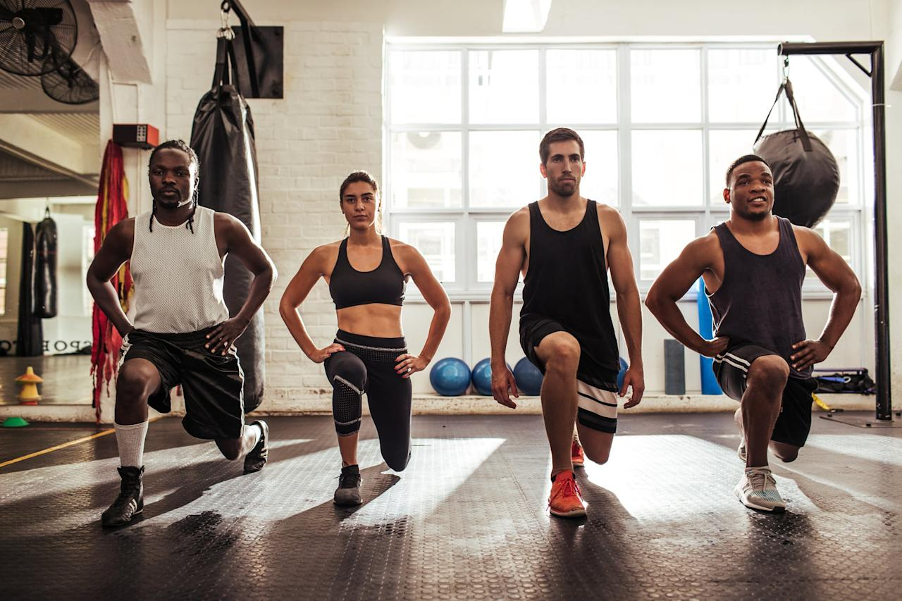 """<p>Grab a kettlebell, a jump rope (or hop on your favorite cardio machine), a bench, and a soft medicine ball for this intense <a href=""""https://www.popsugar.com/fitness/40-Minute-CrossFit-Workout-45530358"""" class=""""ga-track"""" data-ga-category=""""Related"""" data-ga-label=""""https://www.popsugar.com/fitness/40-Minute-CrossFit-Workout-45530358"""" data-ga-action=""""In-Line Links"""">40-minute CrossFit workout</a>.</p>"""