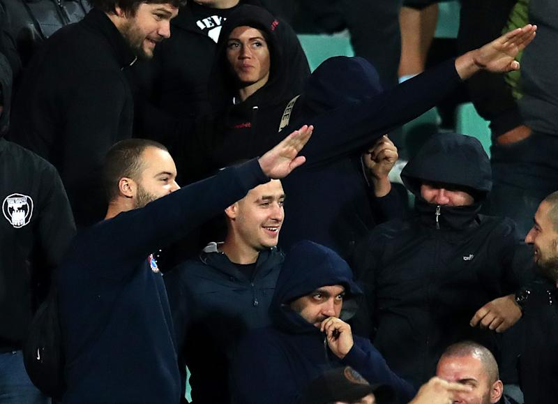 Bulgarian fans made ugly gestures during Monday's Euro 2020 qualifier against England. (Getty)