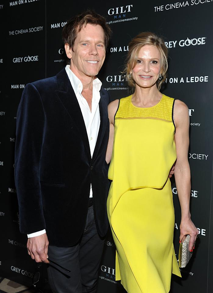 "Kevin Bacon and Kyra Sedgwick at the New York Cinema Society screening of ""<a href=""http://movies.yahoo.com/movie/man-on-a-ledge/"">Man on a Ledge</a>"" on January 20, 2012."
