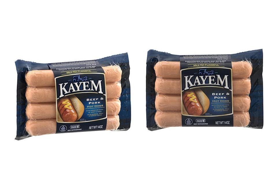 """<p>Calories: 140<br>Fat: 13 grams<br>Sodium: 430 milligrams<br>Cholesterol: 25 milligrams</p> <p>Kayem Beef and Pork Hot Dogs have more fat than some of the other mixed meat hot dog options, as well as more cholesterol. They also have added ingredients, including corn syrup, potassium lactate and dextrose, a sugar. Save that sugar intake for tasty <a href=""""https://www.thedailymeal.com/cook/dessert-recipes-frozen-fruit?referrer=yahoo&category=beauty_food&include_utm=1&utm_medium=referral&utm_source=yahoo&utm_campaign=feed"""" rel=""""nofollow noopener"""" target=""""_blank"""" data-ylk=""""slk:frozen fruit desserts"""" class=""""link rapid-noclick-resp"""">frozen fruit desserts</a>.</p>"""