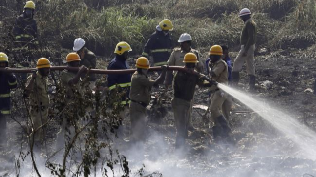 The infamous Bellandur Lake was once more in the news after residents spotted it on fire and thick black smoke billowing from it.