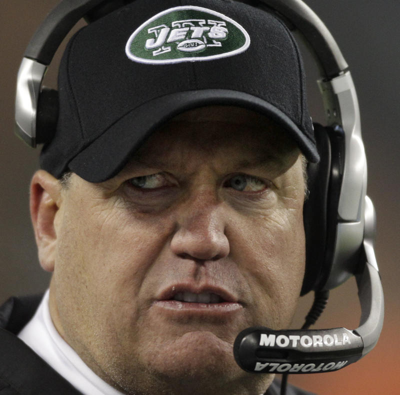 New York Jets head coach Rex Ryan reacts to a penalty called against his team late in the fourth in the fourth quarter of their NFL football game against the New England Patriots Monday night, Dec. 6, 2010, in Foxborough, Mass. The Patriots defeated the Jets 45-3. (AP Photo/Stephan Savoia)