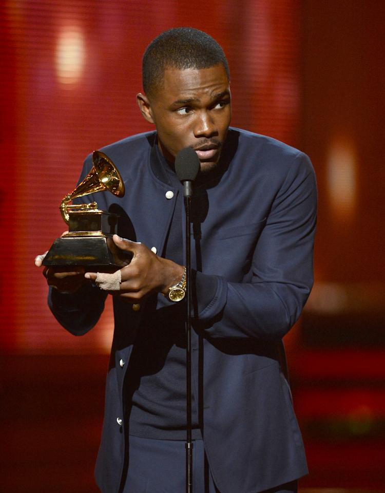 Frank Ocean accepts an award onstage during the 55th Annual GRAMMY Awards at STAPLES Center on February 10, 2013 in Los Angeles, California.  (Photo by Kevin Winter/WireImage)