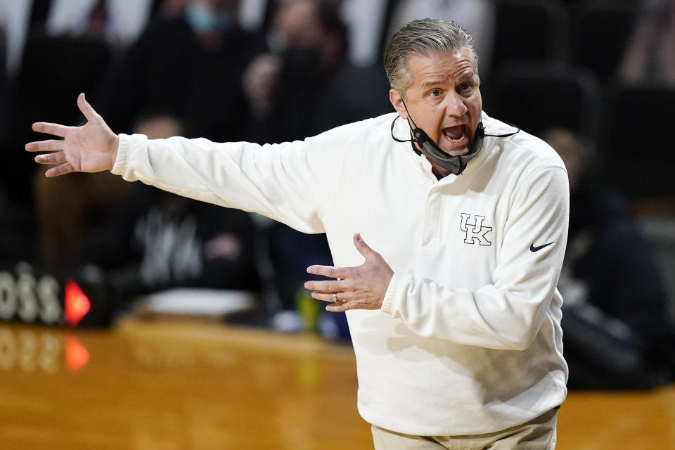 Kentucky head coach John Calipari argues a call in the first half of an NCAA college basketball game against Vanderbilt Wednesday, Feb. 17, 2021, in Nashville, Tenn. (AP Photo/Mark Humphrey)