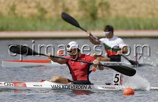 Canada's Adam van Koeverden paddles to win a men's kayak single 1000m semifinal in Eton Dorney, near Windsor, England, at the 2012 Summer Olympics, Monday, Aug. 6, 2012. (AP Photo/Natacha Pisarenko)