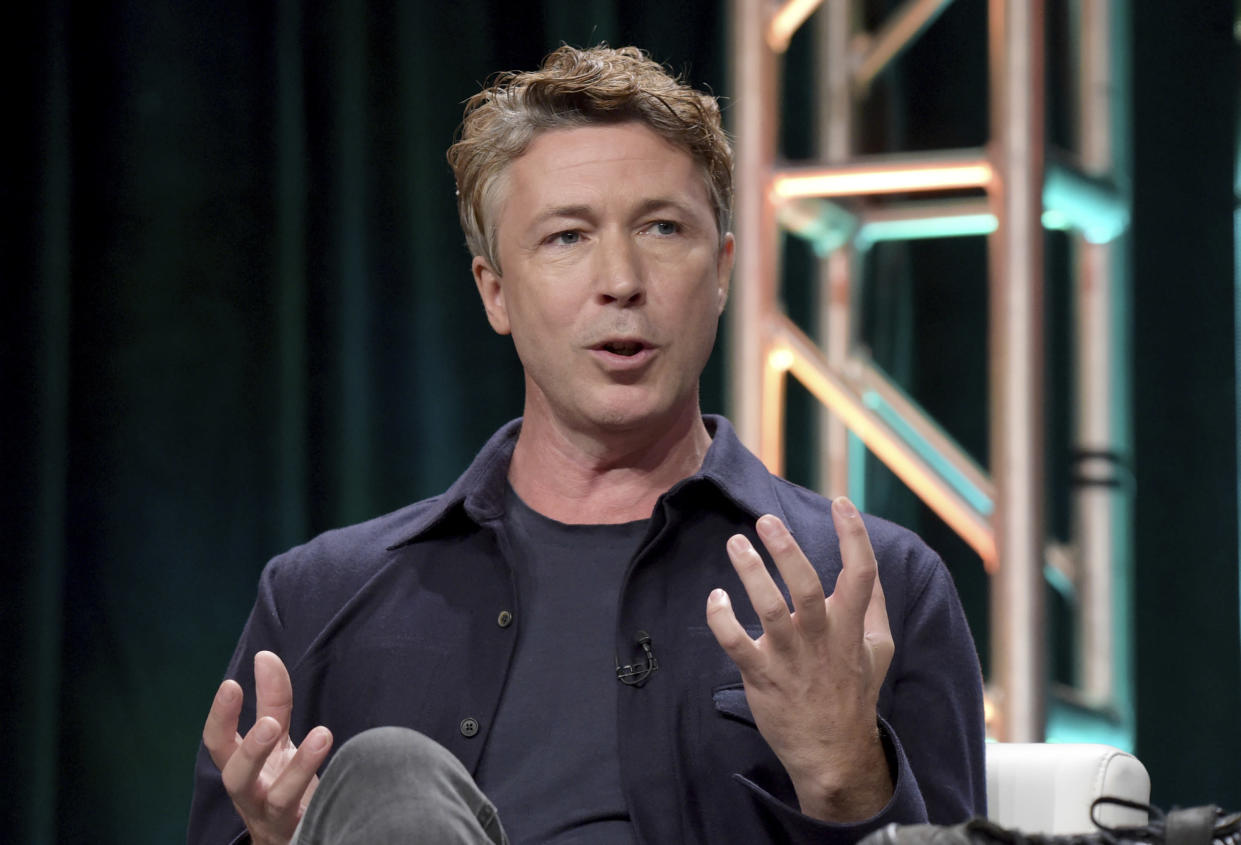 "Aidan Gillen participates in History's ""Project Blue Book"" panel (Photo by Richard Shotwell/Invision/AP)"