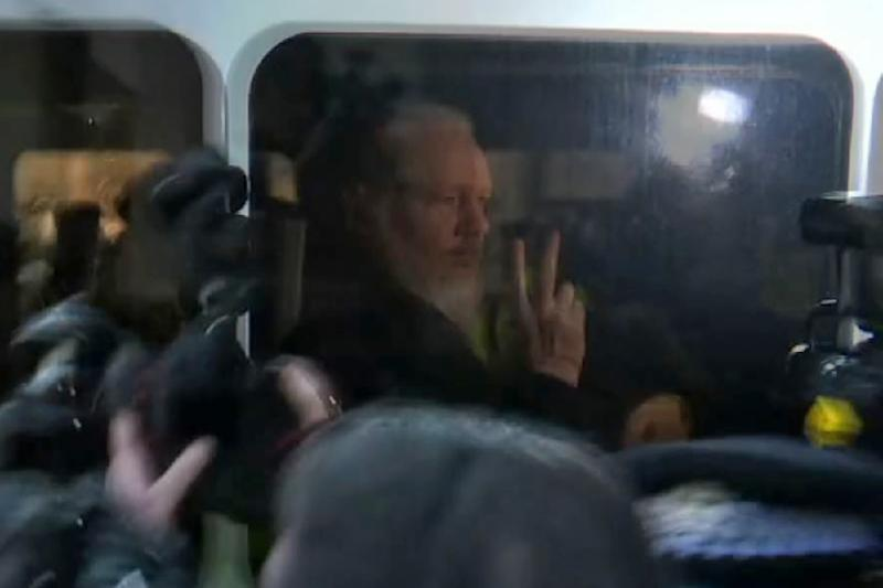 WikiLeaks founder Julian Assange on April 11, the day he was arrested at Ecuador's embassy in London (AFP Photo/-)