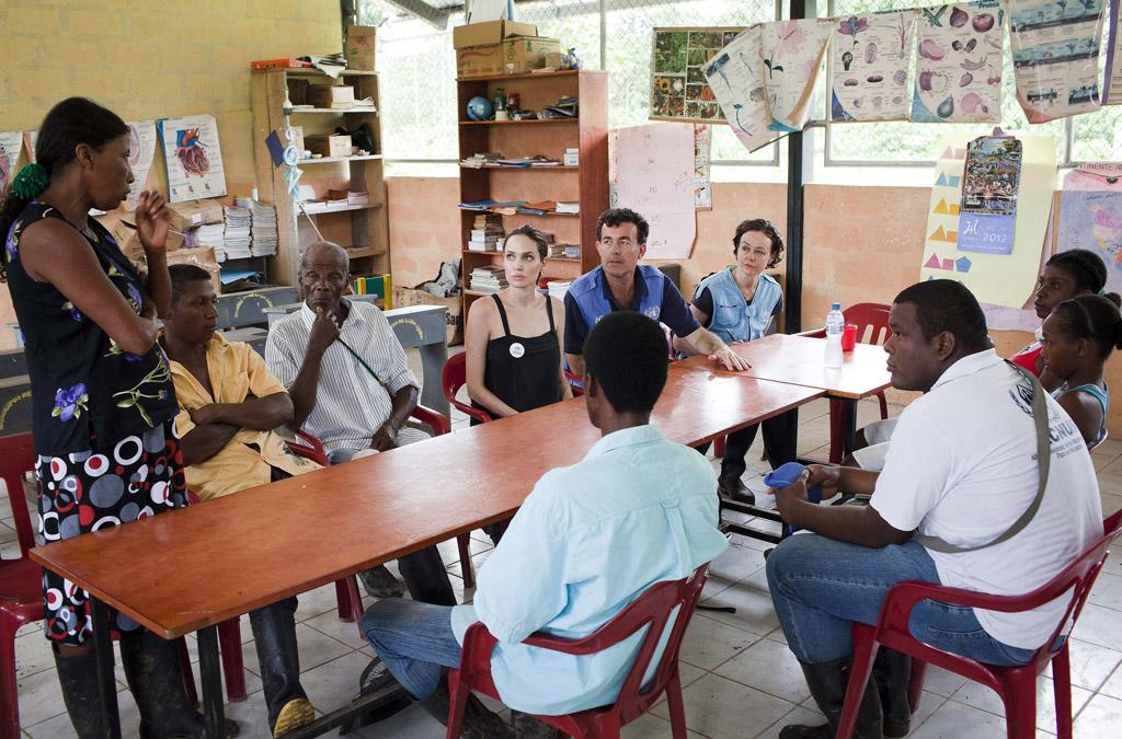 While on vacation with her family, Jolie took a day off over the weekend  to travel to nearby Ecuador to do work as a special envoy to the UNHCR.  While there, she met with residents of the Barranca Bermeja village,  which is home to many Colombian refugees. (4/24/2012)<br>