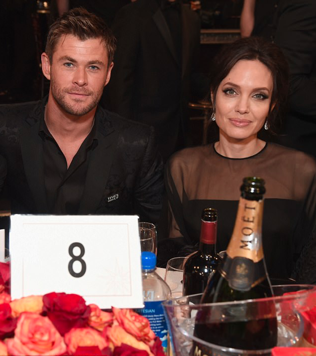 Chris Hemsworth and actor/filmmaker Angelina Jolie celebrate The 75th Annual Golden Globe Awards with Moet & Chandon at The Beverly Hilton Hotel on January 7, 2018 in Beverly Hills. Source: Getty
