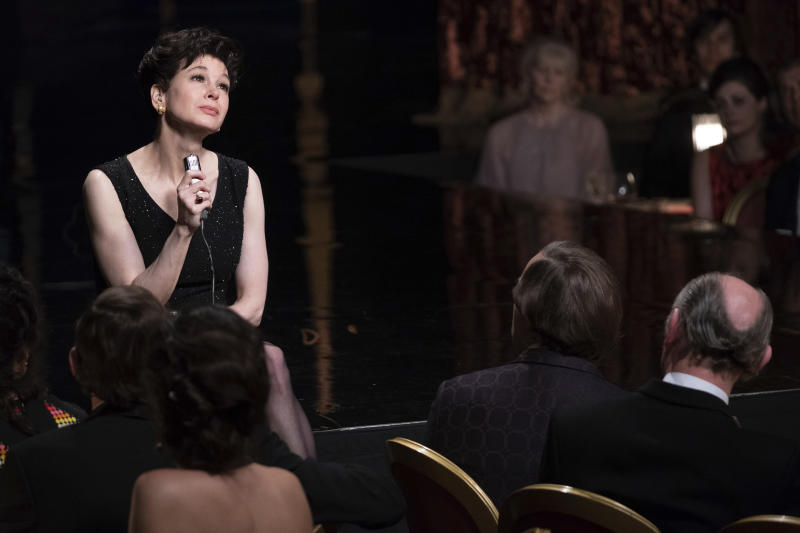 """This image released by Roadside Attractions shows Renée-Zellweger as Judy Garland in a scene from """"Judy,"""" in theaters on Sept. 27. (David Hindley/Roadside Attractions via AP)"""