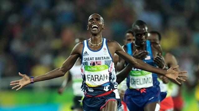 <p>Great Britain Mohamed Farah victorious after Men's 5000M Final at Rio Olympic Stadium after winning the gold in Rio de Janeiro, Brazil. </p>
