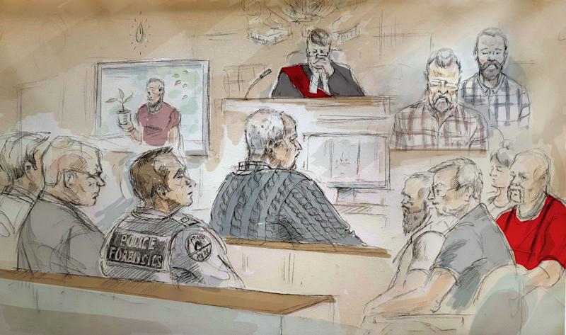 In this artist's sketch, serial killer Bruce McArthur (centre) attends his sentencing hearing in Toronto on Monday, Feb.4, 2019. THE CANADIAN PRESS/Alexandra Newbould
